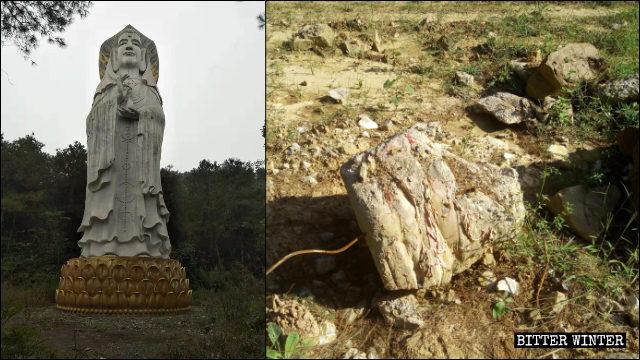 Una estatua masculina de Kwan Yin de 21 metros de altura, situada al aire libre, fue demolida.