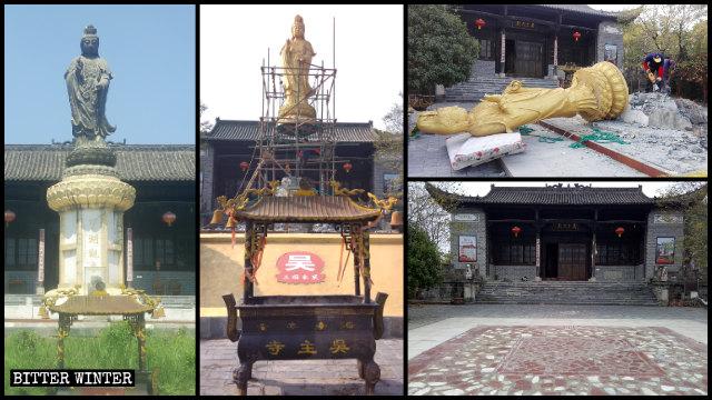 """La estatua de """"Kwan Yin observando el lago"""" que se encontraba situada en el templo de Wuzhu fue demolida en el mes de noviembre."""