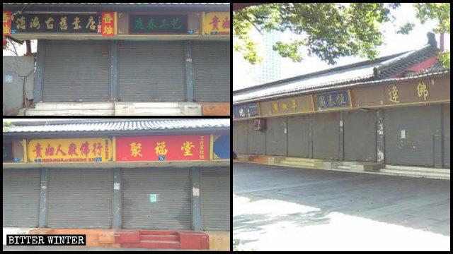Las tiendas budistas situadas en los alrededores del Templo de Guiyuan han sido clausuradas.