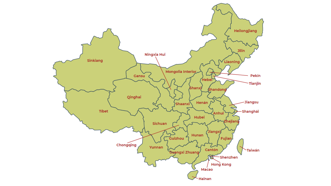 Mapa geográfico de China
