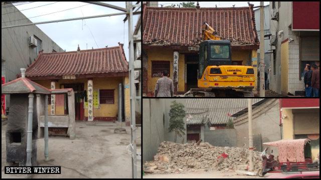 El templo taoísta de Baiyitang emplazado en la ciudad de Xuchang fue destruido tras más de 100 años de existencia.