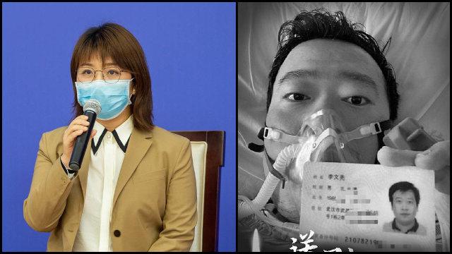 La periodista de la agencia de noticias Xinhua, Liao Jun, y el difunto doctor Li Wenliang.