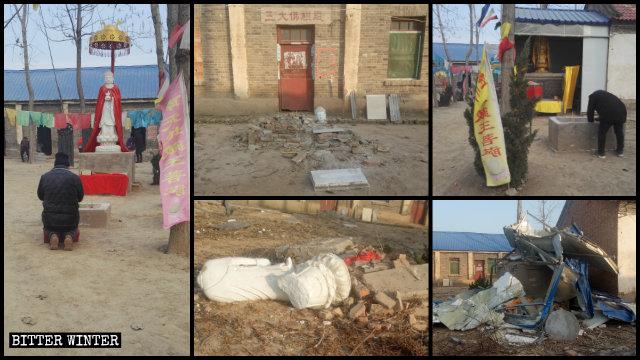 El templo de Mafo quedó completamente arruinado tras ser allanado por varios funcionarios locales.