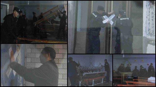 Empleados gubernamentales vacían y sellan iglesias emplazadas en Mongolia Interior.