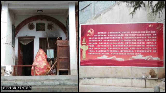 En el templo de Xiangshan se retiró una estatua de Buda y se colocaron carteles propagandísticos.
