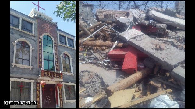 La iglesia de las Tres Autonomías emplazada en la aldea de Xiazhuang antes y después de ser demolida.