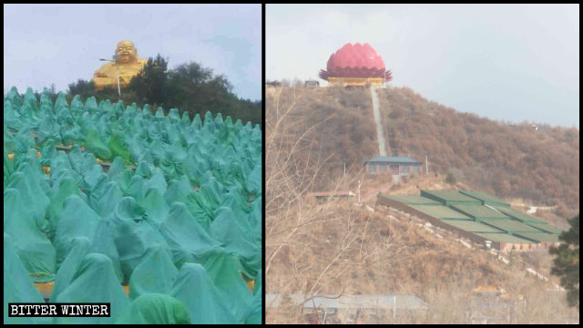 Las 800 estatuas de Arhats han sido cubiertas con telas verdes y el Buda con una estructura similar a un loto gigante.
