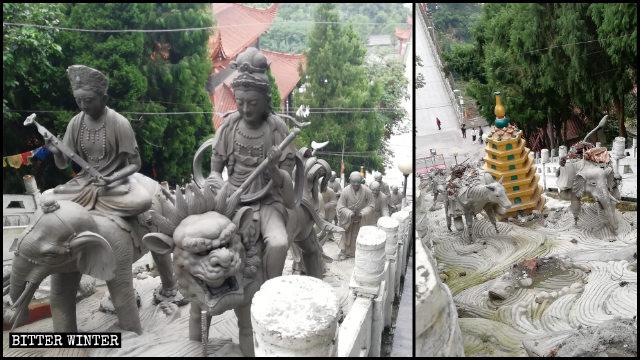 Las estatuas de arhats que se encontraban situadas fuera del templo de Luohan fueron demolidas poco después de haber sido instaladas.