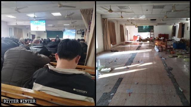 Un lugar perteneciente a la Iglesia Local emplazado en Hangzhou antes y después de ser clausurado.