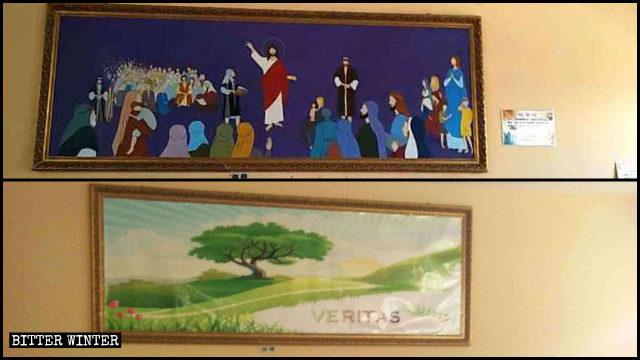 """En la cafetería, un mural, titulado """"Cinco panes y dos peces"""", fue reemplazado por una pintura de un paisaje."""
