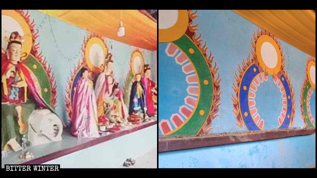 El Templo de Yunzhong emplazado en Linzhou antes y después de que sus estatuas budistas fueran retiradas.