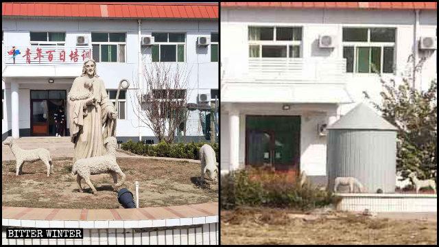 """El letrero del edificio que decía """"Entrenamiento juvenil de cien días"""" y la estatua de Jesús fueron cubiertos."""