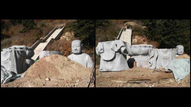 La estatua del bodhisattva del almacén de la tierra situada en el Templo de Pufa fue desmembrada y retirada.