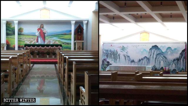 Un mural religioso con la imagen de Jesús fue cubierto con un dibujo de un paisaje.