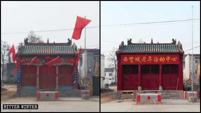 Un templo emplazado en Linzhou fue reconvertido en un centro de actividades para ancianos.