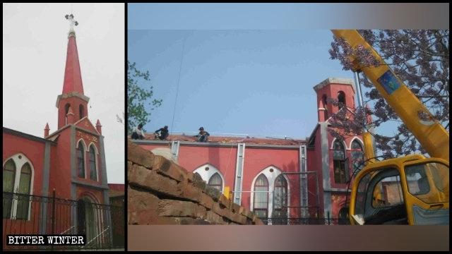 Una iglesia de las Tres Autonomías emplazada en el condado de Qiu antes y después de que su cruz fuera retirada por la fuerza.