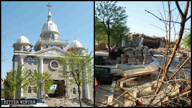 Una iglesia de las Tres Autonomías que se encontraba emplazada en Weifang fue destruida durante el brote de coronavirus.