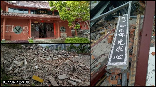 Al Templo de Yangfu le demolieron una de sus salas y dos edificios residenciales.