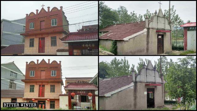 Dos de las iglesias emplazadas en el condado de Hanshan antes y después de que sus cruces fueran removidas.