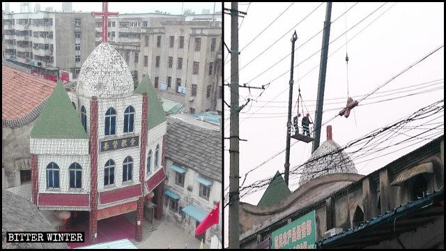 La Iglesia de Gulou emplazada en la ciudad de Fuyang fue despojada de su cruz.