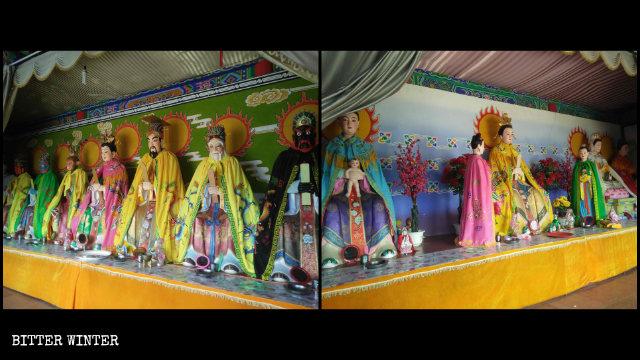 Las estatuas consagradas en la Sala del Rey Dragón y el Templo de Nainai.
