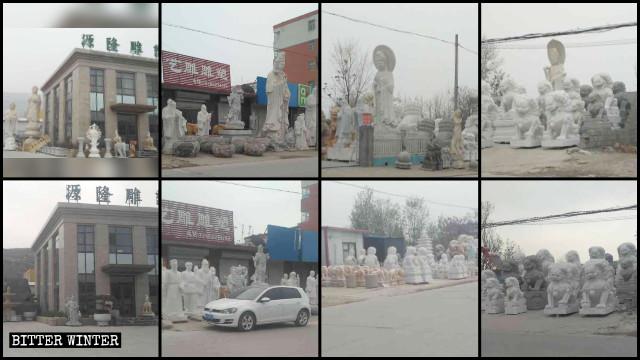 Las estatuas religiosas situadas fuera de los talleres de tallado fueron retiradas o cubiertas.