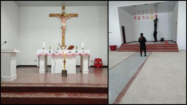 Un crucifijo existente en una iglesia de la diócesis de Yujiang fue reemplazado por una consigna propagandística.