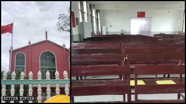 Una iglesia de las Tres Autonomías emplazada en la ciudad de Xinyu no tiene cruz, solo la bandera nacional.