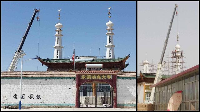 En el mes de abril, la mezquita de Yongle emplazada en la ciudad de Baiyin de la provincia noroccidental de Gansu fue despojada de su cúpula y de sus minaretes.