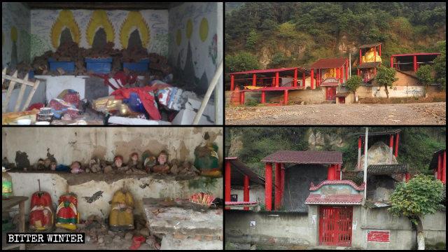 Estatuas budistas de diferentes tamaños fueron destruidas en la ciudad de Luzhou.