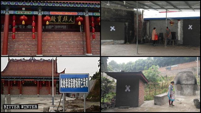Las puertas y ventanas de muchos templos fueron bloqueadas con ladrillos o tablas.