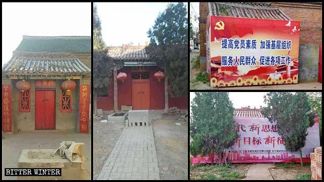 Los carteles de propaganda del Partido bloquean las entradas de dos templos de la aldea.