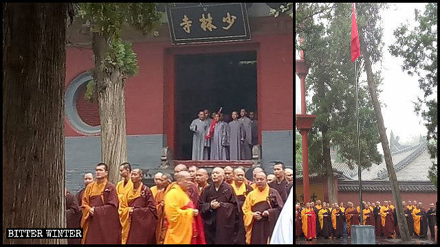 Los monjes del Templo Shaolin forman filas para participar en una ceremonia de izamiento de la bandera.