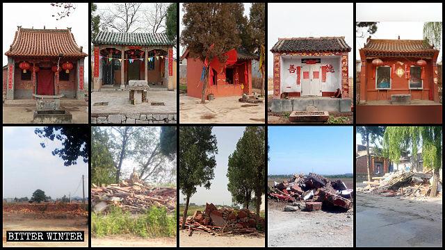 Una gran cantidad de templos emplazados en el poblado de Hejian fueron demolidos por la fuerza.