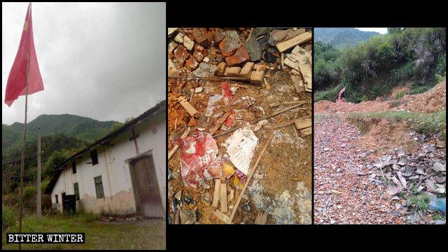 Una iglesia de las Tres Autonomías emplazada en el condado de Shangrao fue arrasada hasta los cimientos.