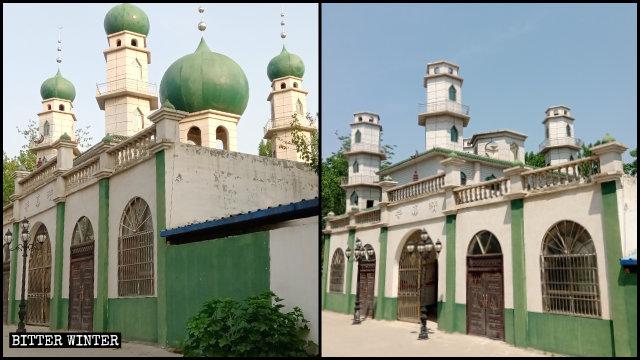 Una mezquita emplazada en el municipio de Chumiao del condado de Minquan fue despojada de cinco cúpulas que poseían símbolos de luna creciente y estrella.