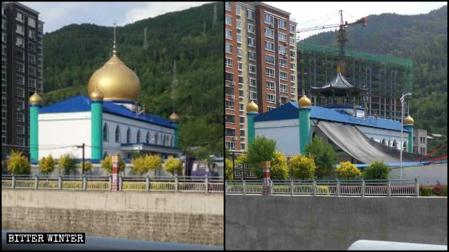 La cúpula de una mezquita emplazada en la ciudad de Linjiang de Jilin fue convertida en un pabellón chino tradicional.
