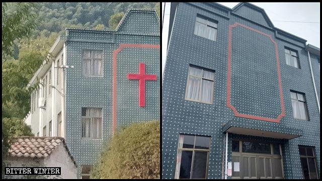 La cruz que se hallaba situada en el techo del lugar de reunión fue retirada.