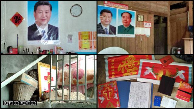 Los símbolos religiosos existentes en los hogares de cristianos de bajos recursos emplazados en las ciudades de Jiujiang y Nanchang de Jiangxi fueron reemplazados por imágenes de Xi Jinping y Mao Zedong.