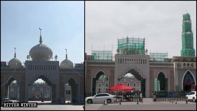 Se están eliminando los símbolos situados sobre la entrada de la Gran Mezquita de Yuehai.