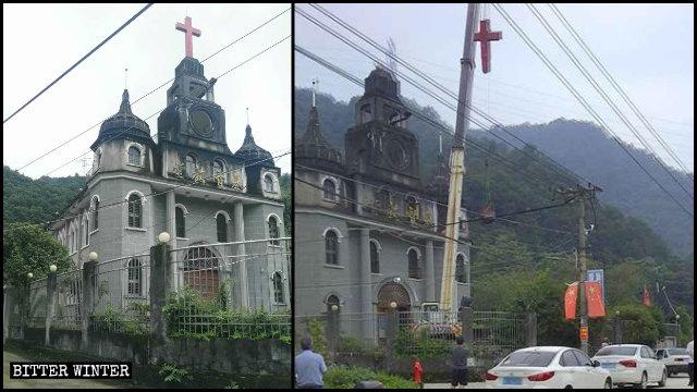 Una iglesia de las Tres Autonomías emplazada en la aldea de Yongfu fue despojada de su cruz.