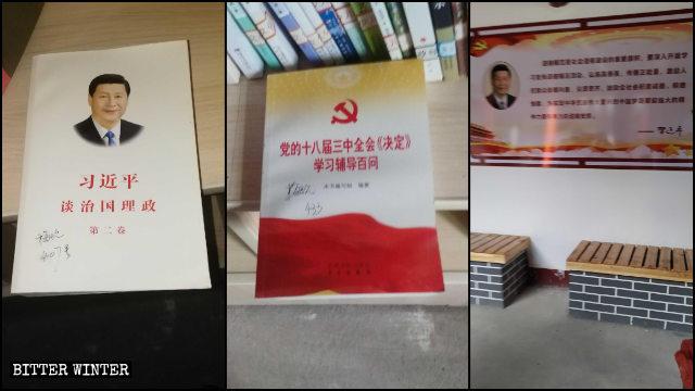 El libro titulado: Xi Jinping: el Gobierno de China y carteles con las citas del presidente exhibidos en el templo.