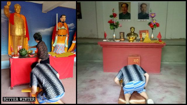 Durante la pandemia, varias personas acudieron al Templo de la Deidad Celestial Mao Zedong a orar.