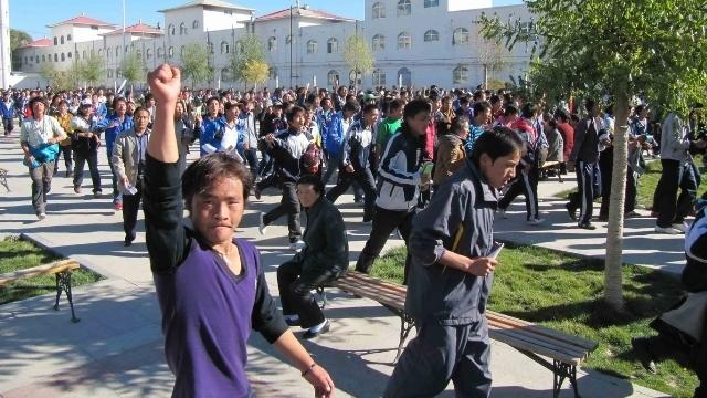 Estudiantes tibetanos protestando contra la marginación del idioma tibetano