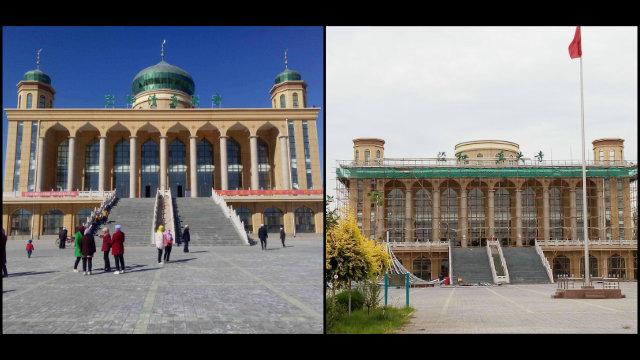 La Gran Mezquita de Jinghe emplazada en el poblado de Xingjing, en el distrito de Xixia de Yinchuan, fue despojada de su cúpula en el mes de julio.