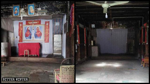 Todos los símbolos religiosos existentes en la Capilla de Xiaonanmen han sido eliminados.