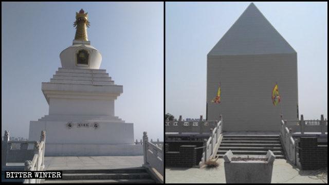 Una estupa budista tibetana blanca situada en la montaña de Xiaolong fue cubierta.