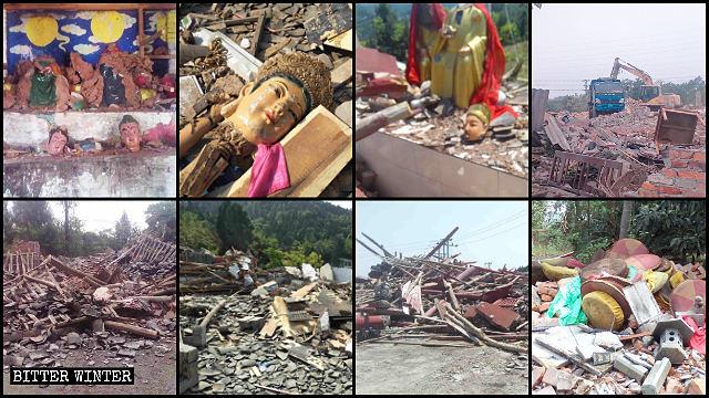 Una gran cantidad de templos han sido demolidos a lo largo de la provincia de Sichuan.