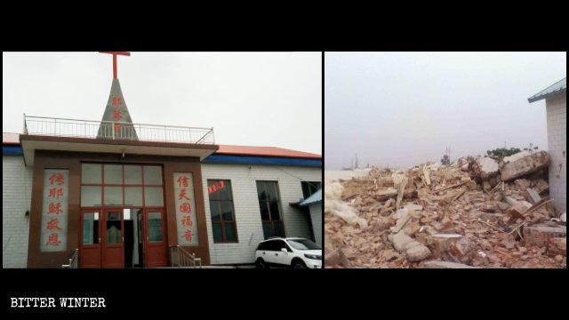 Una iglesia de las Tres Autonomías demolida en el distrito minero Fengfeng, en Handan.